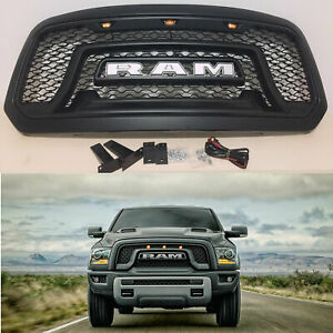 Bumper Hood Abs Grille Fit For 2013 2018 Dodge Ram 1500 Grill Frame W Letter