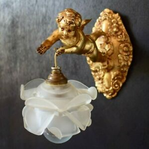 Art Nouveau French Angel Cherub Wall Sconce With Rose Glass Lamp Shade