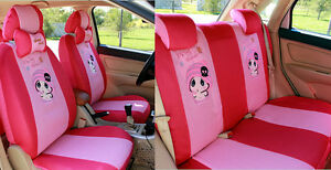 Hot Pink Girl Cartoon Car Seat Covers The Front Rear Cover Accessory Set 10pcs