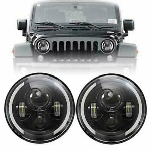 Pair Dot 7 Inch 200w Led Headlight Halo Angle Eyes For Jeep Wrangler Cj Jk Lj