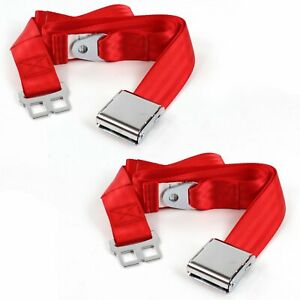 Chevy Chevelle 1968 1972 Airplane 2pt Red Lap Bucket Seat Belt Kit 2 Belts