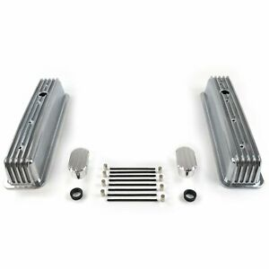 Vintage Center Bolt Finned Valve Covers W Breathers No Pcv Small Block Chevy