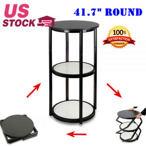 Usa Stock 41 7 Round Portable Aluminum Spiral Counter Display Case With Shelves