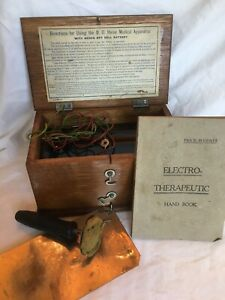 Vintage Antique Medical Electro Therapeutic Device Apparatus Wood Case Box