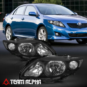 Fits 2009 2010 Toyota Corolla Black Clear Crystal Corner Headlight Headlamp Lamp