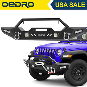 Oedro Front Bumper Combo 4x Led Lights Fit For 2018 2019 Jeep Wrangler Jl Jk