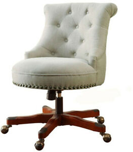 Polyester Office Desk Chair Sturdy Wood Frame Adjustable Height Classic Stye
