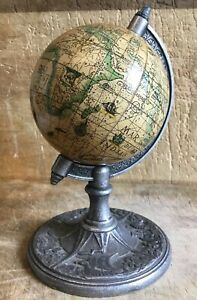 Small Unusual Vintage Desk Table World Globe Paper On Cast Metal Rotating Stand