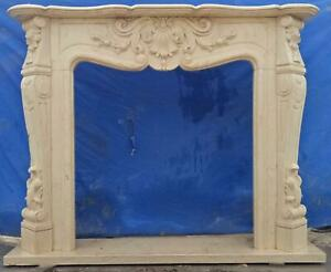 Beautiful Hand Carved Marble French Style Estate Fireplace Mantel Ttm17
