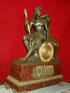 Antique 1800 1830 French Dore Bronze And Red Languedoc Marble Clock