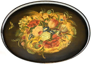 Vintage Large Toleware Tray Hand Painted Signed High Pierced Rail Galley