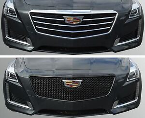 Black Horse 2015 2019 Cadillac Cts Overlay Grille Trims Gloss Black