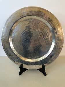 Antique Mission Arts Crafts Hammered Copper Silver Plated Charger Plate 12