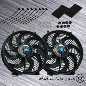 2pc Slim Electric Radiator Cooling Fan 12 12v 80w Pull push Type W Straps