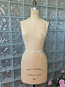 Vintage Professional Wolf Dress Form Size 10 Mannequin Model1983 Collapsible