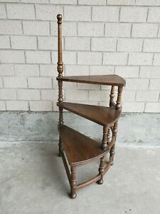Mid Century Ethan Allen Solid Wood Staircase Plant Stand Shelf 42 H 30 W Nice