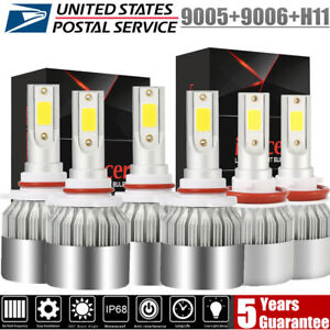 Combo 9005 9006 H11 Led Headlight Hi Low Bulb 6000k 5950w 744750lm Fog Light