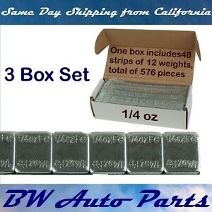 3 Box 9lb 1728 Pieces 1 4oz Zinc Wheel Weights Stick on Adhesive Tape Lead Free