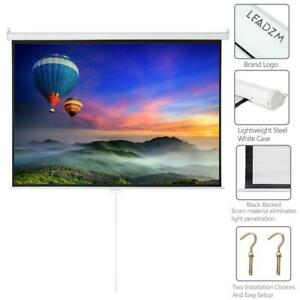 100 Hd Home Movie Projector Projection Screen 100in Manual Pull Down Auto Lock
