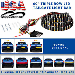 3 Row Led Truck Sequential Signal 60 Tailgate Light Strip Bar For Ford F 150 Us