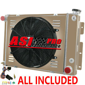 3 Row Radiator Shroud Fan Thermostat Kit For Chevy Camaro 21 Wide Core 67 68 69