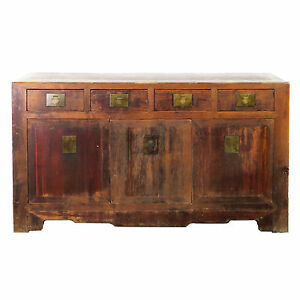 Antique Chinese Asian 62 Long Buffet Sideboard Credenza Cabinet Rustic Brown