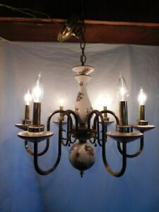 Antique Chandelier Ceiling Fixture Lamp Light Porcelian Tole French Country Old