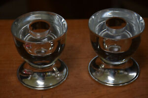 2 Vintage Frank M Whiting Sterling Silver Glass Candlesticks Candleholders