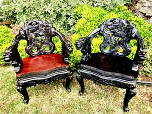 Antique 19th Century Asian Wood Carved Dragon Throne Chairs