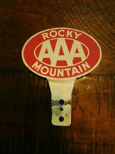Vintage Rocky Mountain Aaa License Plate Topper Ornament Emblem