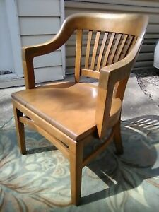 Antique Vintage Courthouse Banker Lawyers Wood Arm Chair W H Gunlocke
