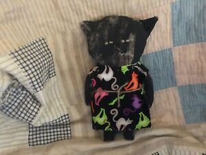 Primitive Black Cat Girl Doll Halloween Fall Black Dress With Cats