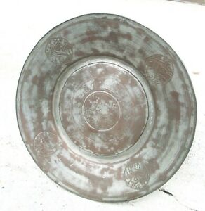 Antique Asian Mixed Metals Tray Platter Plate W Engrave Design And Signed