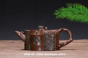 China Yixing Zisha Pottery 350ccpurple Clay Teapot Handmade Pine Bamboo Plum Pot