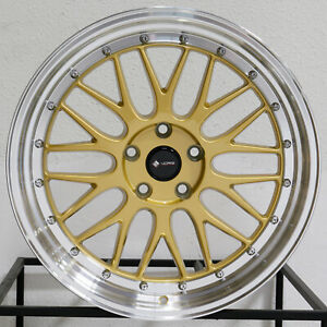 4 new 19 Vors Vr8 Wheels 19x8 5 19x9 5 5x114 3 35 35 Gold Staggered Rims