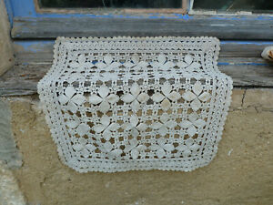 Antique Old French 1890 Crochet Lace Cotton Doily Or Top Of Pillow Color Bistre