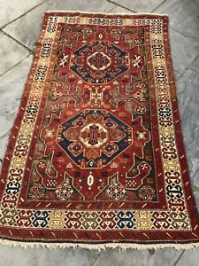 Pre 1900 Caucasian Carpet Karabagh Kazak 4 X6 Beautiful Colors And Abrash
