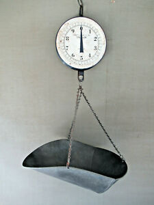 Antique Hanging Scale Chatillon 20 Lb Vintage Primitive Country Store Tray