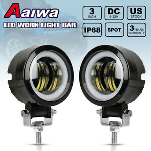 Pair Led Fog Lights White Halo Spot Led Work Light 3inch For Jeep Suv Truck Atv