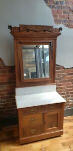 Antique Wash Stand With Swivel Mirror And Marble Top
