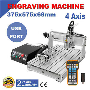 New Cnc 6040 4 Axis 15000w Router Usb Port Engraving Diy Cutting Milling Machine