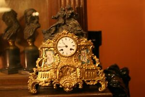 French Gilded Figural Sevres Mantle Clock Signed Prize Medal Circa 1851