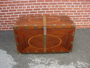 19th Century Inlaid Mahogany Brass Bound Campaign Trunk Chest As Found