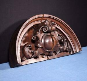 French Antique Renaissance Pediment Crest In Solid Walnut Wood Salvage