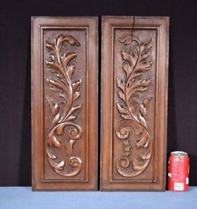 Pair Of Antique French Hand Carved Solid Walnut Wood Panels Salvage