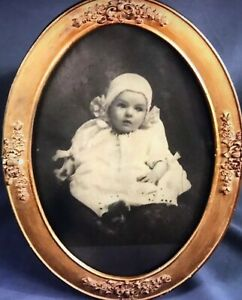 Large Antique Gilded Oval Frame With Baby Photo