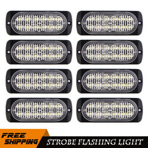 8pc 12 Led Strobe Dash Emergency Flashing Warning Light Car Truck Yellow White