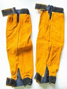 Esab Welding Leather Sleeves One Size Elasticated Cuff Velcro Arm Fastening