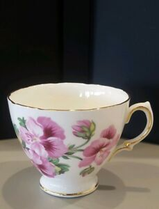 Royal Vale Vintage Bone China Teacup W Purple Flowers