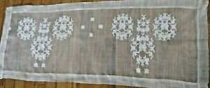 Old Asian Antique Silk Runner Embroidery Needle Run Lace Buterflay In Wreaths
